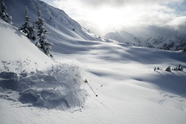 Ripping down first track in the backcountry.