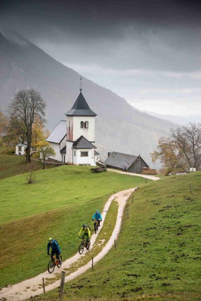 Mountain Bikers below Slovenian Church