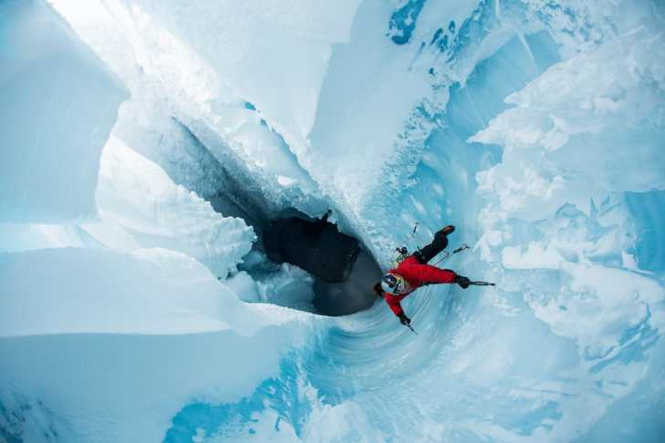 Will Gadd climbs out of the Greenland Ice Sheet