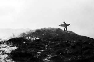 Pete Devries battling the cold in his wetsuit in Scotland.
