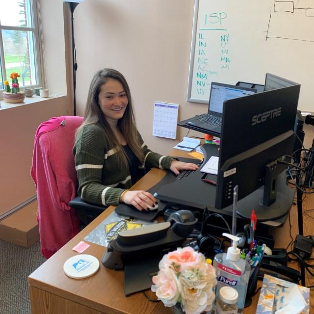Shereen Mohammadi at her desk in New Gloucester, ME