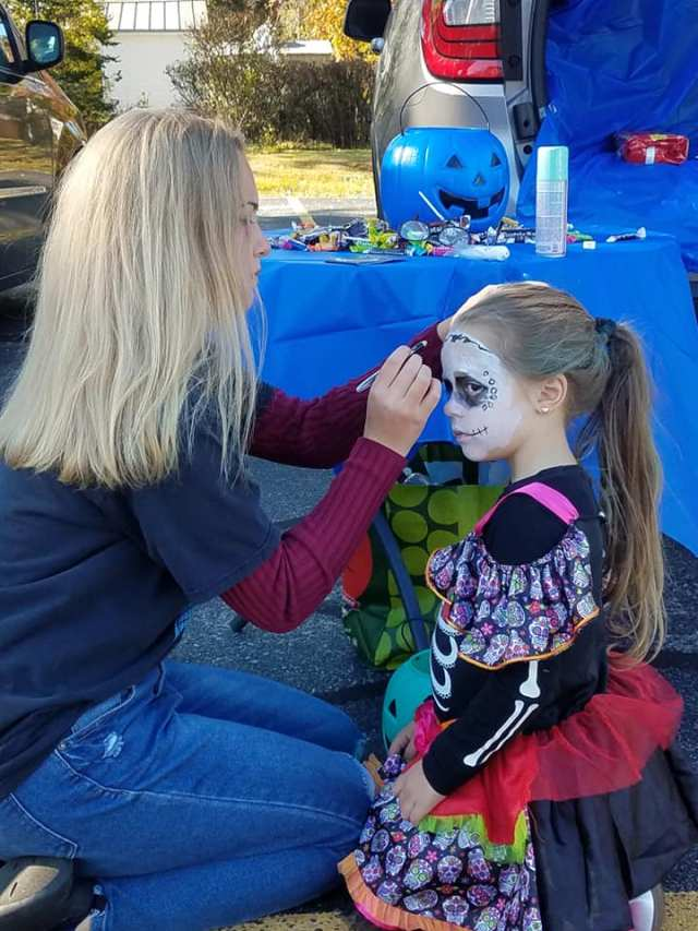 Face painting at the Trunk or Treat Event
