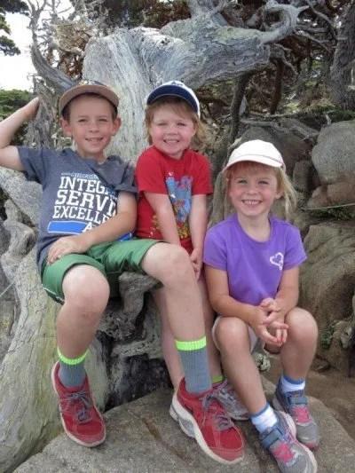 three children sitting on driftwood on hiking trail