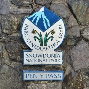 Sign marker for Snowdonia National Park Pen Y Pass