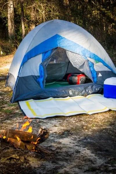 camping mats at campsite