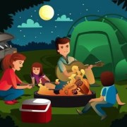 family at a campfire