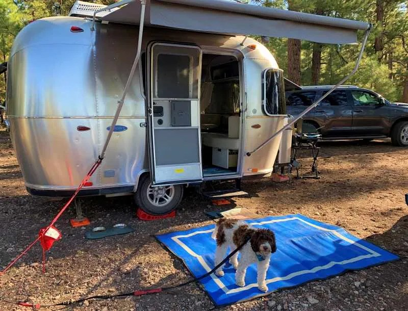 blue RV Mat with dog and small Aerostream camper Mountain Mat