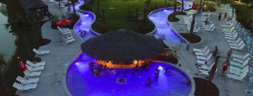 swimming pool at night with lighting