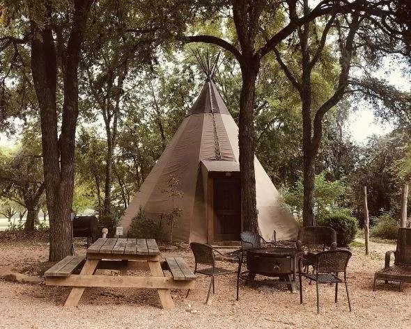 tipi set up in campground