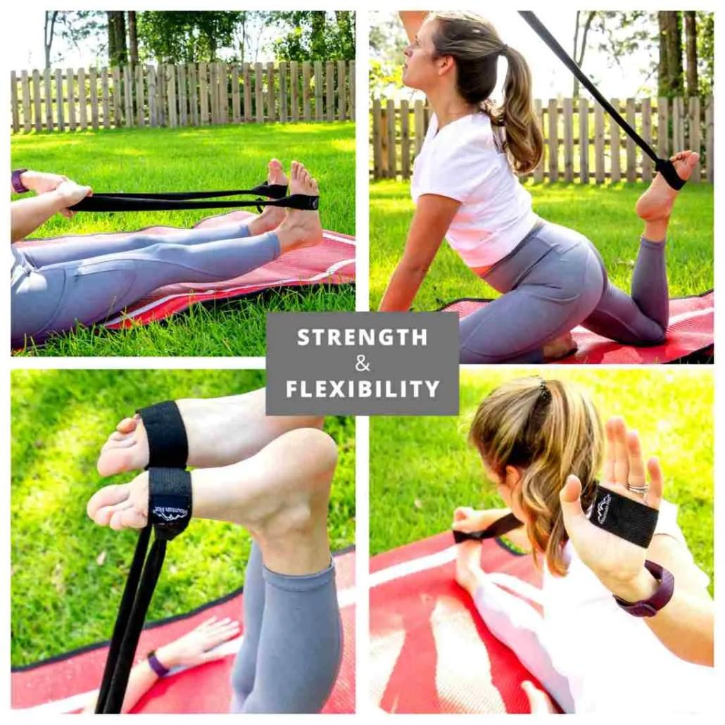 4 image tile - various ways to stretch using Mountain Mat stretching strap