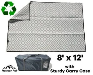 8'x12' RV patio mat made from recycled plastic with carry bag