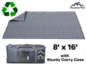 8'x16' RV patio rug with carry case made from recycled plastic