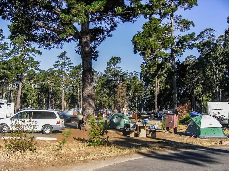 campground with tents and RVs
