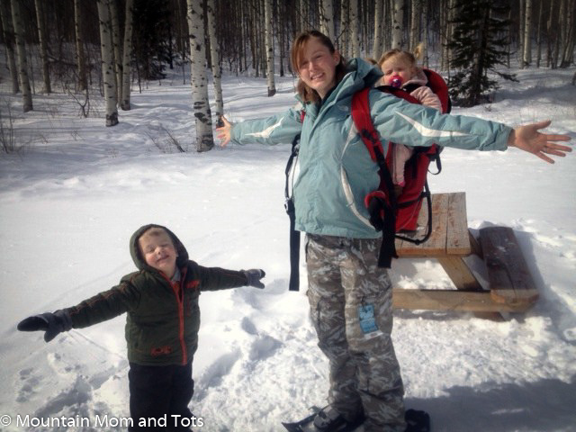 Mountain Mom snowshoeing with tots.