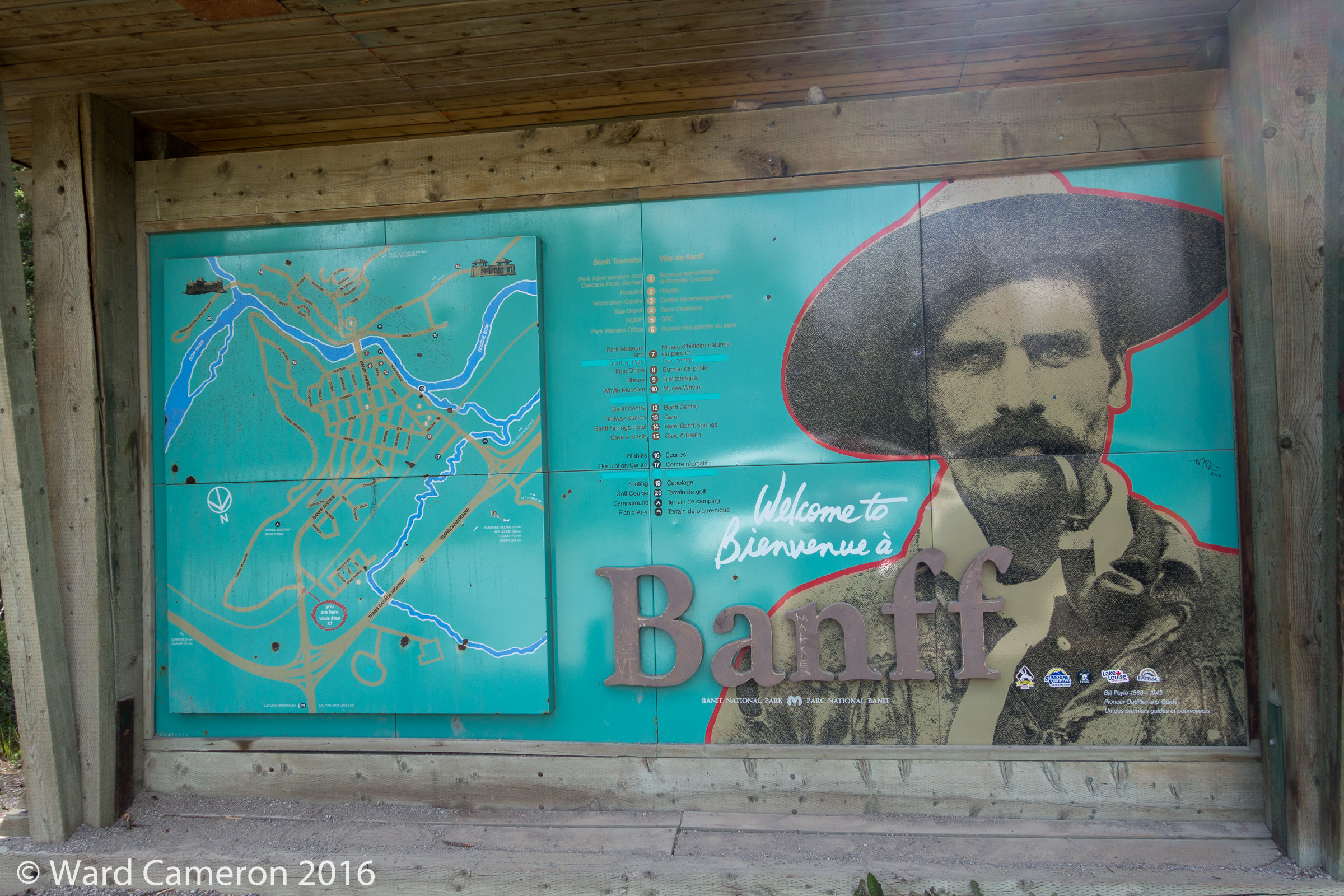 Bill Peyto sign at the entrance to Banff Townsite
