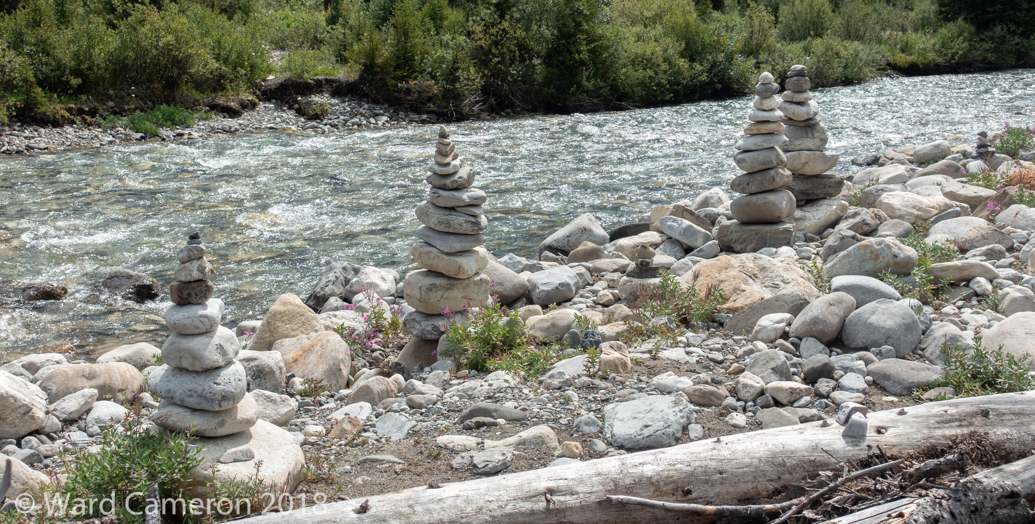 Photo Of Rock Piles Built At The Ink Pots In Banff National Park