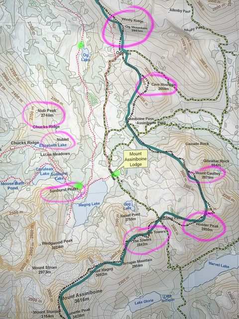 This excellent map shows the access trails, trails in the area. Elevating Your Photography At Mt Assiniboine Mountain Photo Tours