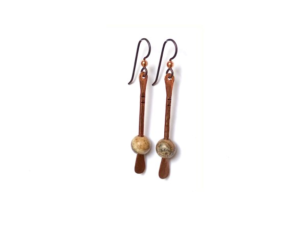 Floating Bead Forged Copper Earrings - Picture Jasper