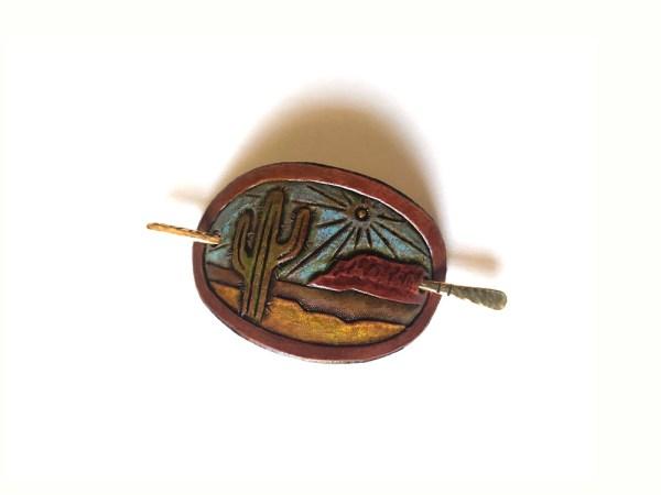 Small Leather Hair Clip - Desert Landscape