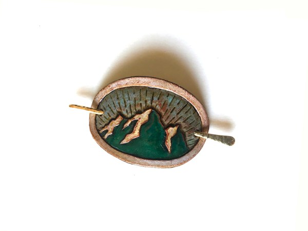 Small Leather Hair Clip - Mountains & Sky