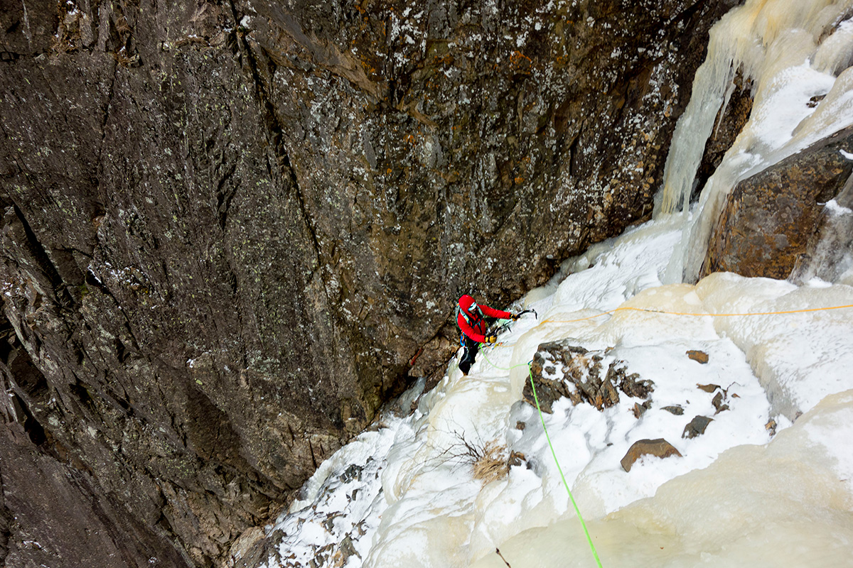 Mike enjoying early season conditions on the upper pitches of Cannon Cliff's The Black Dike ice climb.