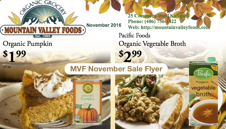 November Sales at Mountain Valley Foods!