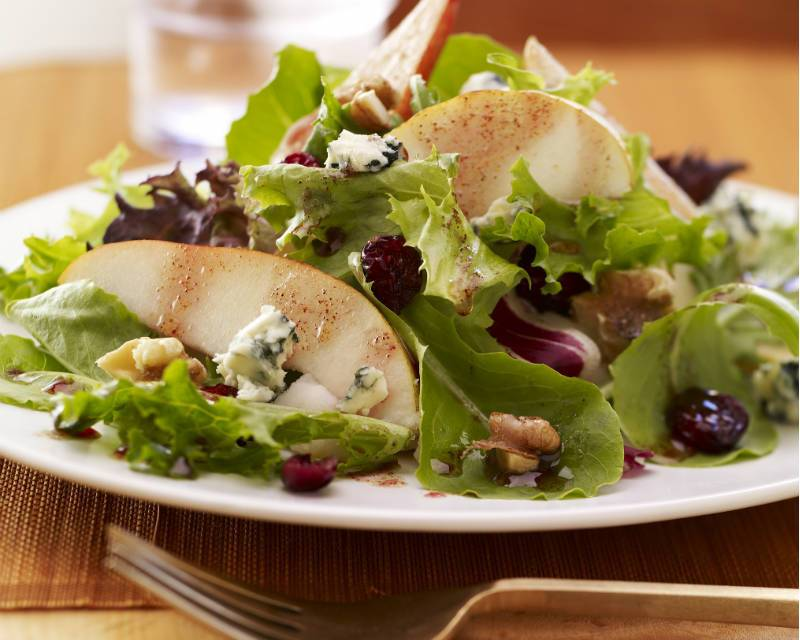 Pear and Field Green Salad with Pomegranate Vinaigrette
