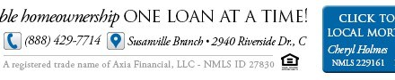 Axia Home Loans, Susanville CA, +1.530.252.1533  USDA, FHA, VA, Refinance, WebDirecting.Biz