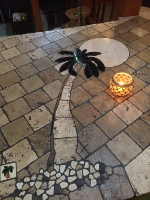 Palm tree tile work