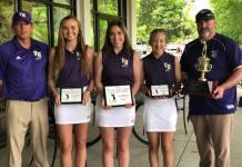 Valley Head Lady Tigers golfers Kallie Ingram, Ally Smith, Emma Harrison