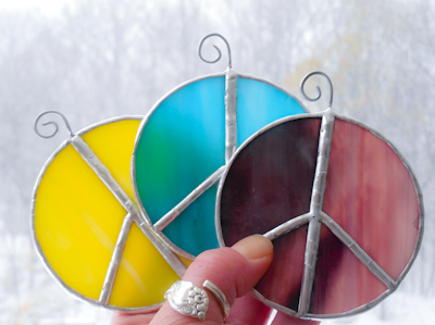 Peace Sign Stained Glass Suncatcher Ornament Nightlight
