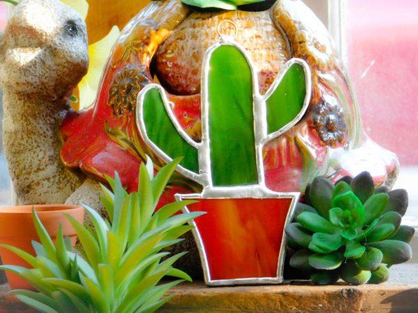 Stained Glass Saguaro Cactus Suncatcher