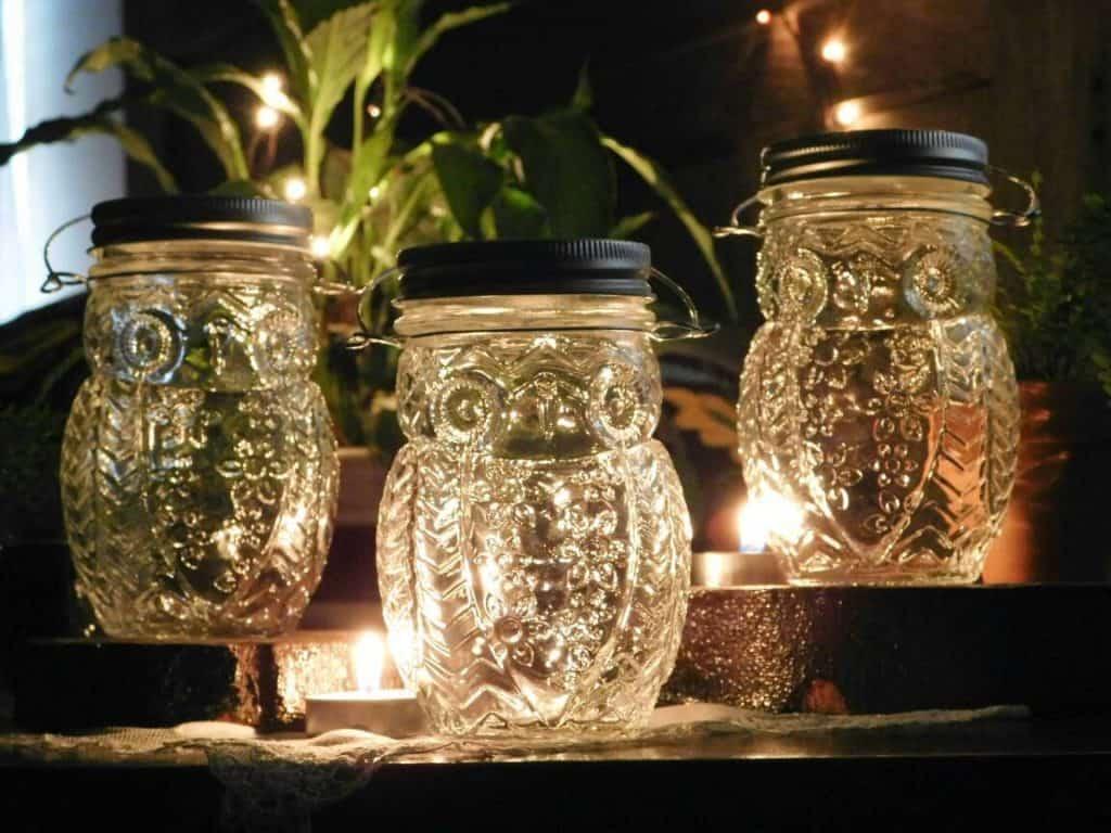 Owl Mason Jar Candle Holder Vases Set of 3