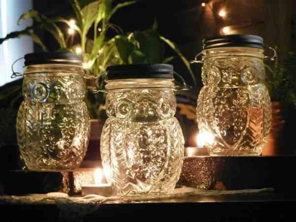 Clear hanging owl jar candle holder vases.