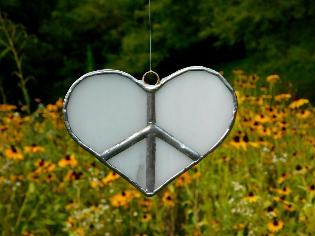 Heart Peace Sign Stained Glass Suncatcher