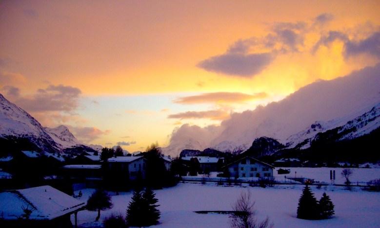 Sils al tramonto verso il Maloja copia