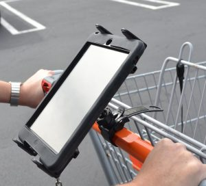 iPad Mini on a shopping cart