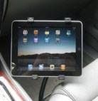Car seat bolt mount with an Apple iPad