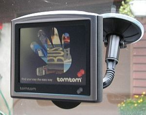 TomTom GPS on a car suction cup mount