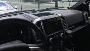 Interior of a Ford F-150 Lots of Room for phone, tablet and GPS Mounts