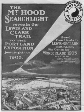 Illuminating Mount Hood. Lewis and Clark Expo