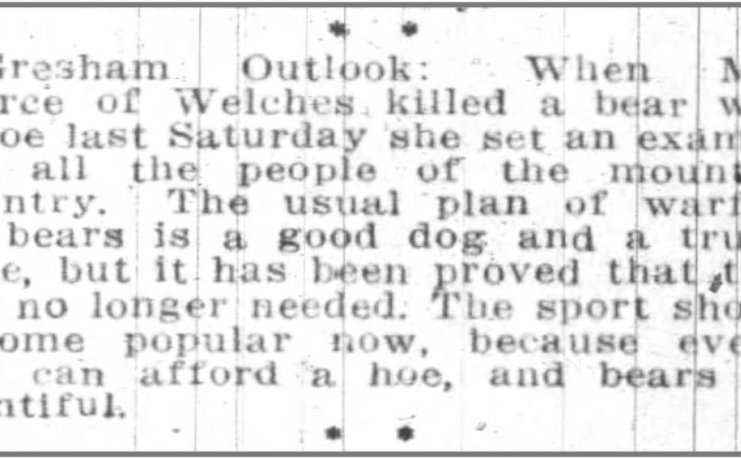 Welches Oregon Bear Hoe Portland Oregon Daily Journal 20 March 1915