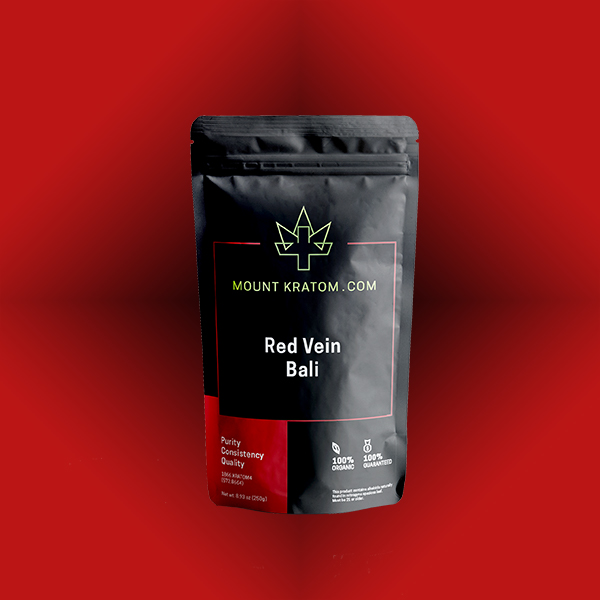 picture of red bali kratom pouch on red background