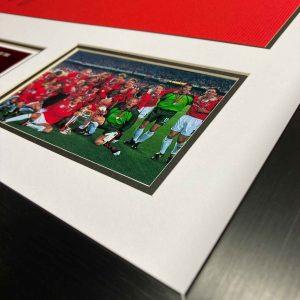 man united 1999-framed signed shirt up close 3