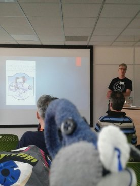 Ernest watches a presentation