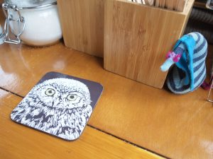Ofelia hides from a coaster that has a picture of an owl on it