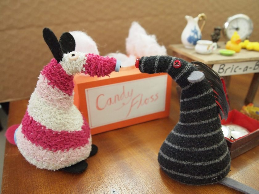 Bernard talks to Matilda at the candyfloss stall