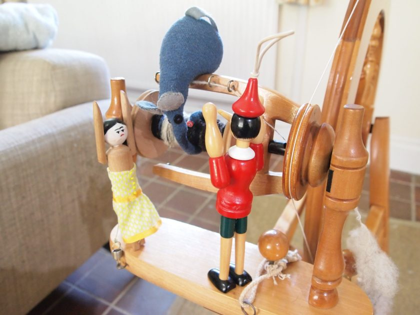 Ernest's snozzle is wrapped round the bobbin as Peggy and Gino look on in alarm