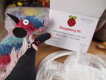 Ratvaark and Fury look at a box with the Raspberry Pi logo on it