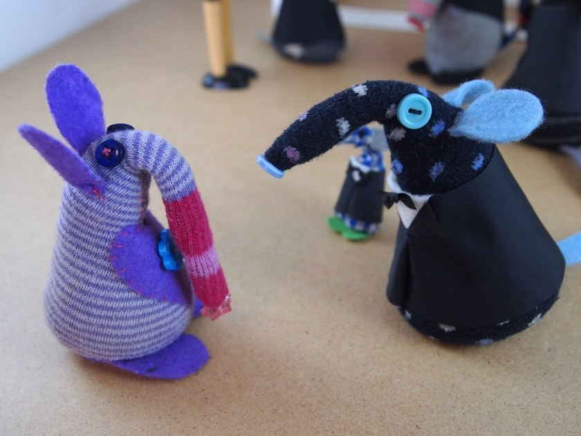 Winston talks to a stripey vaark with a long droopy snozzle